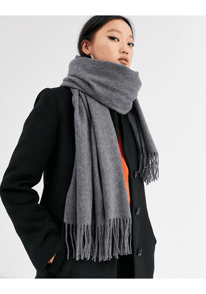 ASOS DESIGN oversized wool scarf with tassels in grey