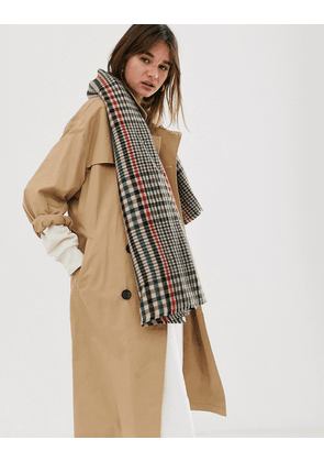 ASOS DESIGN oversized square scarf in 70s tweed-Brown