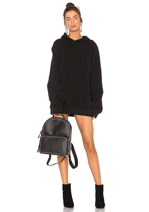 DANIELLE GUIZIO DG Oversized Hoodie Dress in Black. Size M,S.