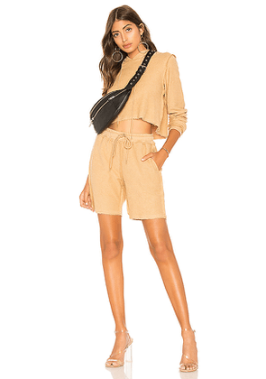 DANIELLE GUIZIO Sweatshort Set in Tan. Size M,S,XS.