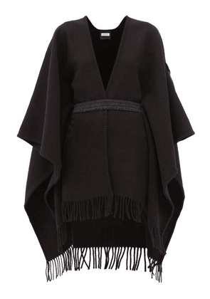 Moncler - Logo-patch Belted Wool Poncho - Womens - Black