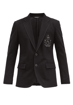 Dolce & Gabbana - Single-breasted Logo-embroidered Twill Blazer - Mens - Black