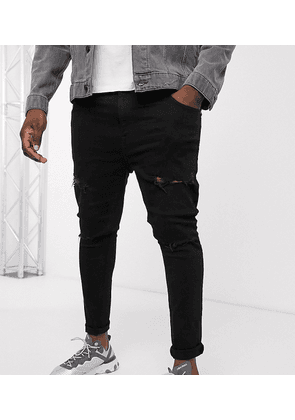 ASOS DESIGN Plus spray on jeans with power stretch in black with mid rips