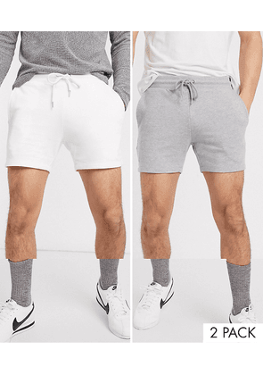 ASOS DESIGN 2 pack jersey skinny shorts in shorter length in grey marl/white save-Multi