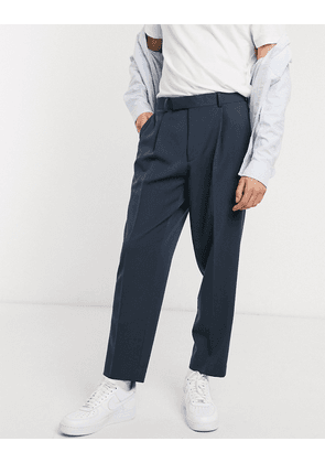ASOS DESIGN oversized tapered smart trousers in navy