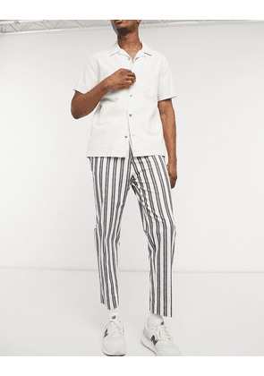 ASOS DESIGN tapered smart trousers in white and navy stripe