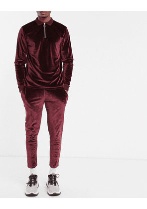 ASOS DESIGN co-ord skinny joggers with fixed hem in velour in burgundy-Red