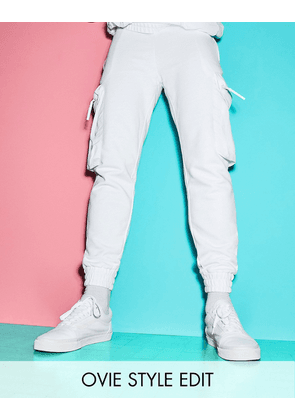 ASOS DESIGN co-ord tapered joggers with nylon bellow cargo pockets in white