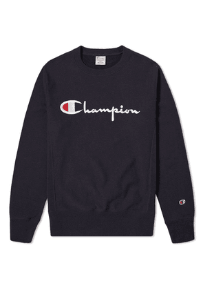 Champion Reverse Weave Script Logo Crew Sweat Navy