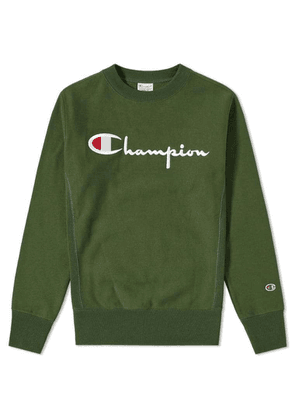 Champion Reverse Weave Script Logo Crew Sweat Bottle Green