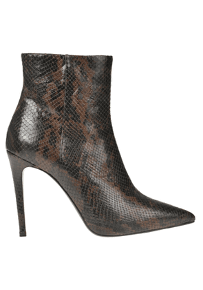 Reptile print effect leather boots