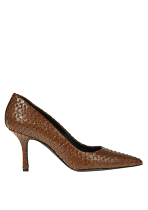 Studded reptile effect leather pumps