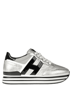 H222 metallic effect leather sneakers