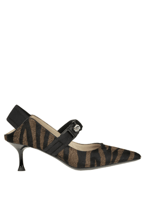 Animal print haircalf slingback pumps