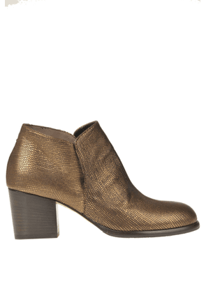 Metallic effect leather ankle-boots