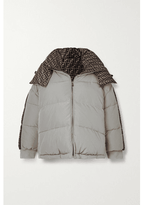 Fendi - Reversible Hooded Printed Quilted Shell Down Jacket - Light gray
