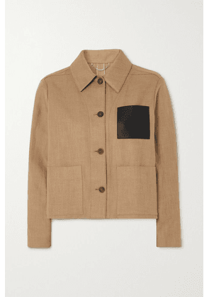 Salvatore Ferragamo - Cropped Leather-trimmed Cotton And Linen-blend Jacket - Beige