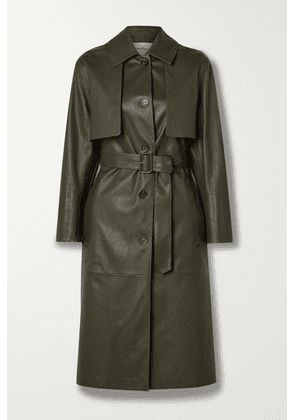 Salvatore Ferragamo - Paneled Leather Trench Coat - Army green