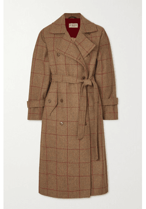 Purdey - Belted Checked Wool-tweed Trench Coat - Brown