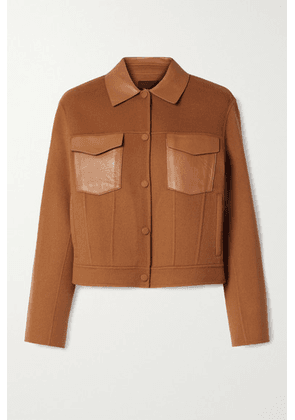 Theory - Leather-trimmed Wool And Cashmere-blend Jacket - Camel
