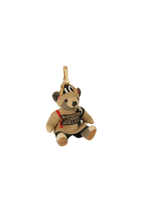 Burberry Thomas Bear Charm In Icon Stripe Sweater And Beanie
