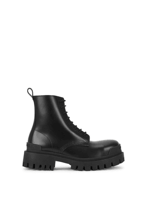 Balenciaga Strike Black Leather Ankle Boots