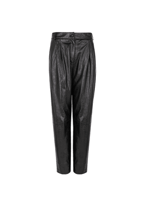 Boutique Moschino Black Tapered Leather Trousers