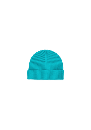 Johnstons Of Elgin Ribbed Cashmere Beanie Turquoise