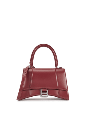 Balenciaga Hourglass Burgundy Leather Top Handle Bag