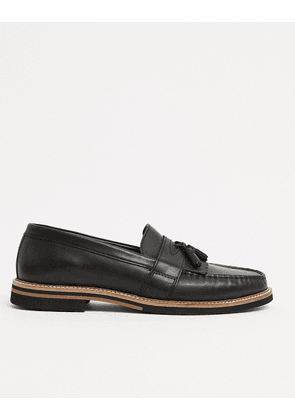 ASOS DESIGN tassel loafers in black leather with contrast sole