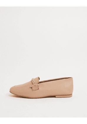 ASOS DESIGN Minute leather chain loafers in camel-Beige