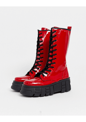 ASOS DESIGN Athens chunky high lace up boots in red patent