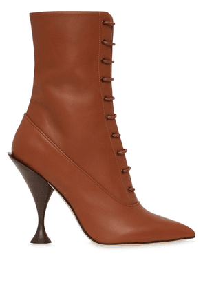 Burberry Lambskin Lace-up Ankle Boots - Brown