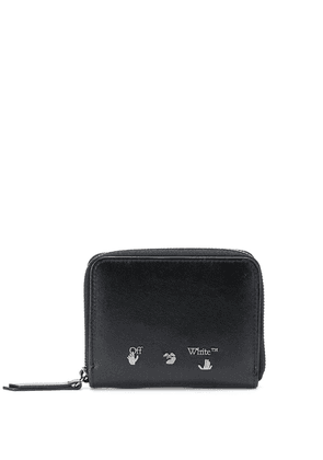 Off-White logo print zipped wallet - Black