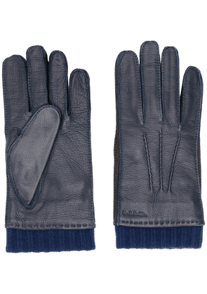 Paul Smith cuff detail deerskin gloves - Blue