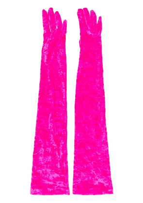 Marine Serre long velvet-effect gloves - PINK
