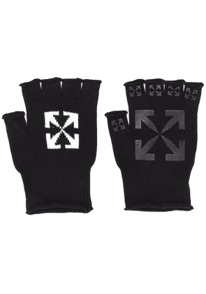 Off-White logo print fingerless gloves - Black