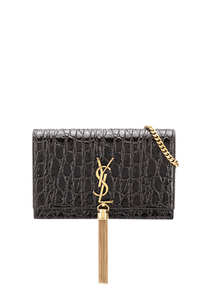 Saint Laurent crocodile-embossed crossbody bag - PURPLE