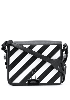 Off-White diagonal-stripe Binder-Clip shoulder bag - Black