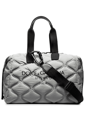 Dolce & Gabbana logo-print quilted holdall - Grey