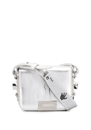 Off-White bulldog clip mini tote bag - SILVER