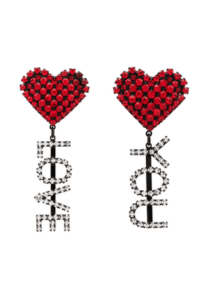 Ashley Williams Love You crystal-embellished clip-on earrings - Red