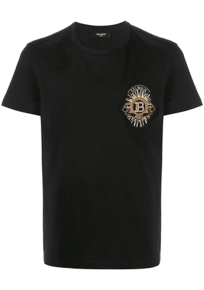 Balmain embroidered logo cotton T-shirt - Black