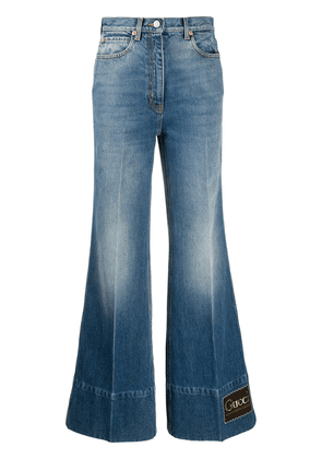 Gucci logo tag flared jeans - Blue