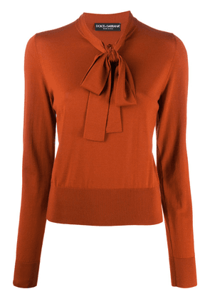 Dolce & Gabbana pussy-bow fastening knitted top - ORANGE