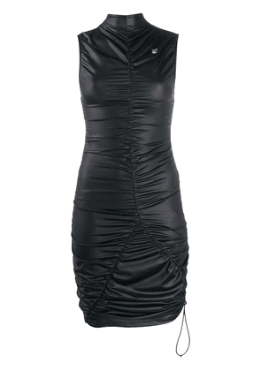 Off-White ruched-detail high-neck dress - Black