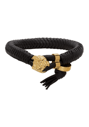 Versace Black and Gold Medusa Braided Bracelet