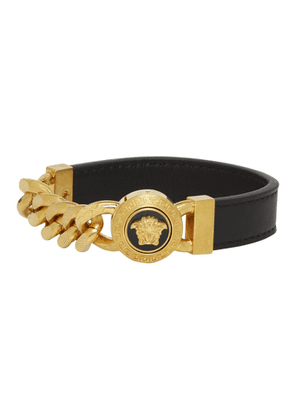 Versace Black and Gold Leather Chain Medusa Bracelet