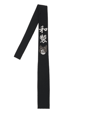 5.5cm Wolf Wasei Embroidery Wool Tie