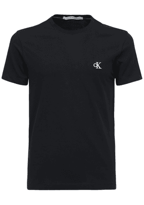 Ck Embroidered Cotton T-shirt
